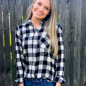 Checkered button down with heart detailing